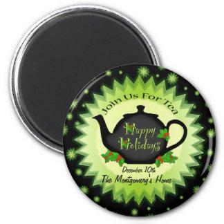 Teapot and Holy Christmas Tea Invitation Magnet