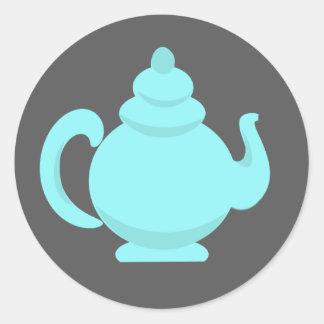 Teapot Aqua and Gray Round Sticker
