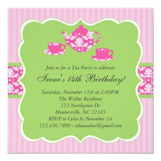 Teapot Birthday Party Invitation