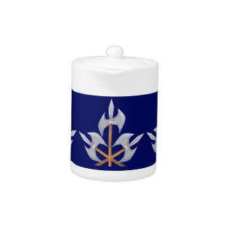 Teapot, dark blue and three battle axes design