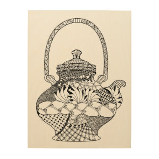 Teapot Doodle 5 Wood Wall Art