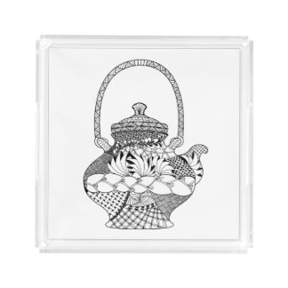 Teapot Doodle Acrylic Tray