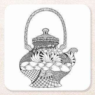 Teapot Doodle Square Paper Coaster