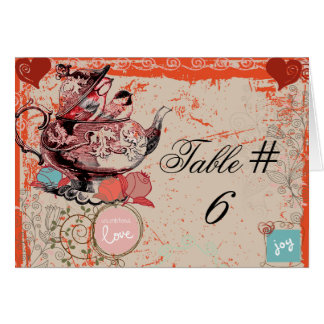 Teapot Fantasy Grunge Custom Table Number Cards