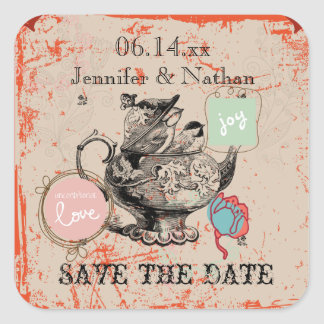 Teapot Fantasy Grunge Save the Date Stickers