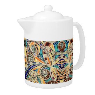 Teapot Floral abstract background