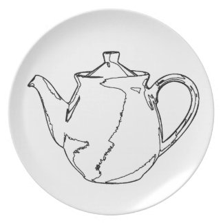 Teapot Line Drawing Plate