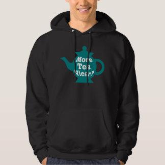 Teapot - More tea Vicar? - Teal and White Hooded Sweatshirt