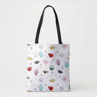Teapot Pattern All-Over-Print Tote Bag