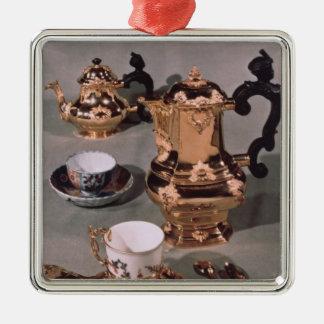 Teapot, sugar bowl, chocolate pot and mug Silver-Colored square decoration