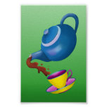 Teapot Teacup and Saucer  Illustration Painting Poster