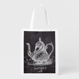 teapot vintage Chalkboard bridal shower tea party Grocery Bags