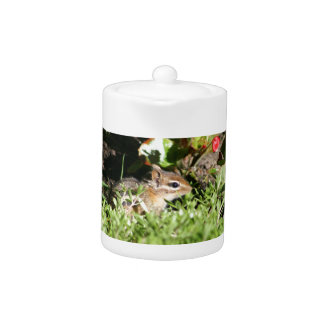 teapot with photo of cute chipmunk