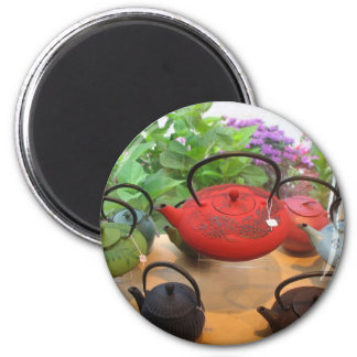 Teapots in the Window 6 Cm Round Magnet