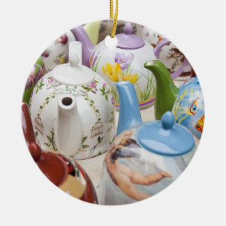 Teapots on sale in Leipzig, Germany Christmas Ornament