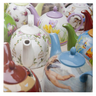 Teapots on sale in Leipzig, Germany Tile