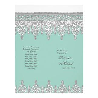 Tear Drop Lace, Aqua Blue Elegant Wedding Program 21.5 Cm X 28 Cm Flyer