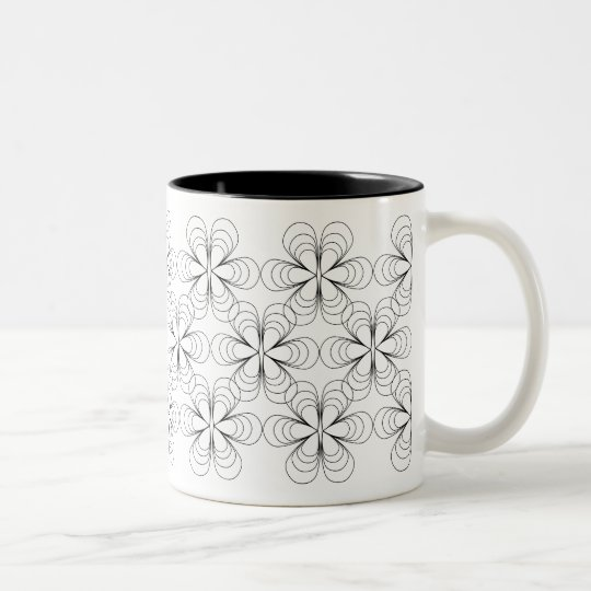 Teardrop Blossoms Mug in Black Stroke