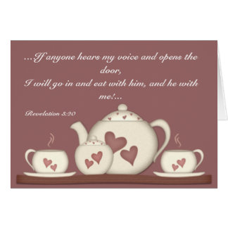 teaset in white and pink greeting card
