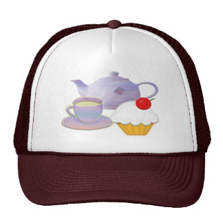 Teatime and cherry cupcake art gifts cap