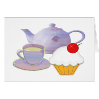 Teatime and cherry cupcake art gifts greeting card