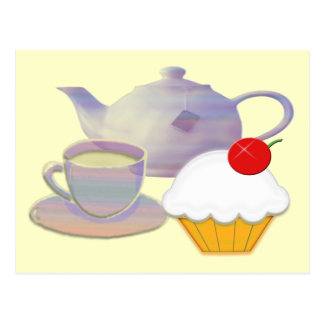Teatime and cherry cupcake art gifts postcards