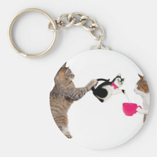 Teatime for kitty cats key ring
