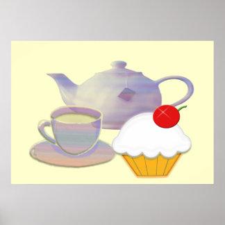 Teatime Hearts Cupcake Art Poster