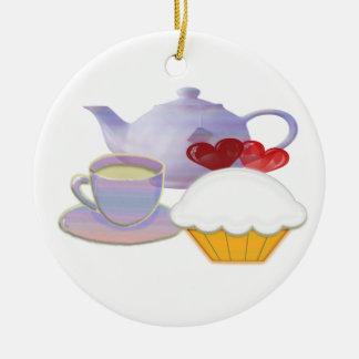 Teatime Hearts Cupcake Ornament