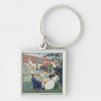 Teatime Silver-Colored Square Key Ring