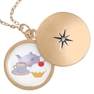 Teatime with cherry cupcake gold Necklace