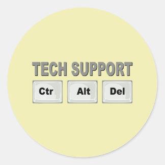 Tech Support Ctr Alt Del Round Sticker
