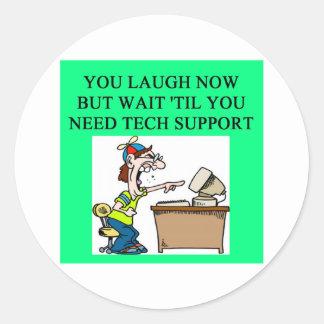 tech support joke round sticker