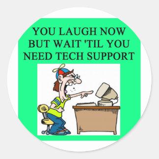tech support joke round stickers