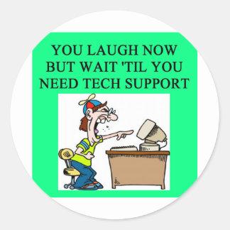 tech support round sticker