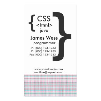 Techie Java  CSS Computer Web Programmer Pack Of Standard Business Cards