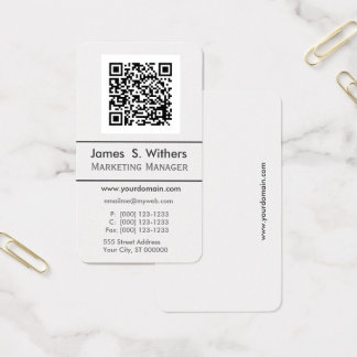 Techie Modern Minimalist QR Code  Photo / Logo Business Card