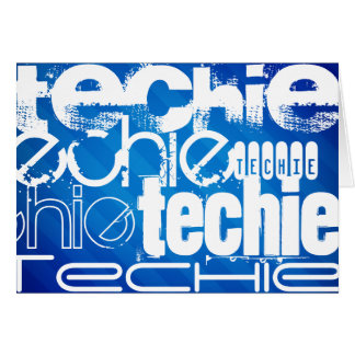 Techie; Royal Blue Stripes Greeting Cards