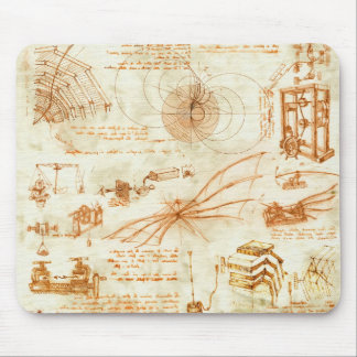 Technical drawing & sketches by Leonardo Da Vinci Mouse Pad