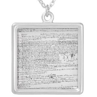 Technical drawings silver plated necklace