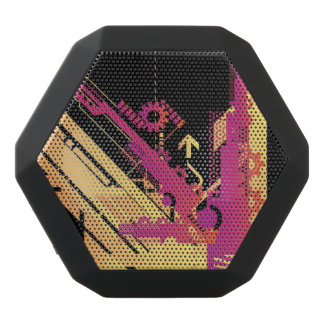 Technical halftone background 7 black bluetooth speaker