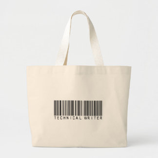Technical Writer Bar Code Large Tote Bag