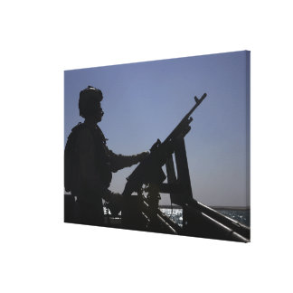 Technician manning an M240 machine gun in Iraq Canvas Print