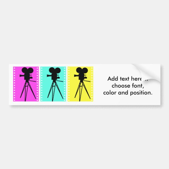 Technicolor Film Strip and Camera Silhouette Bumper Sticker
