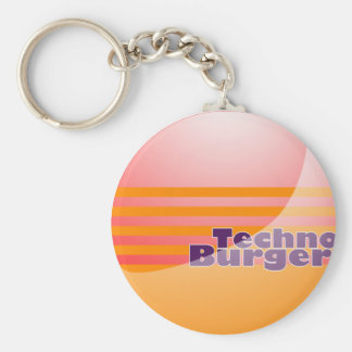 Techno Burger Chain Basic Round Button Key Ring