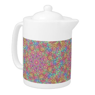Techno Colors  Kaleidoscope Pattern Teapots