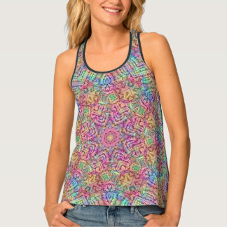 Techno Colors Kaleidoscope  Racerback Tank Top
