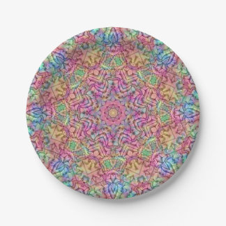 Techno Colors Pattern Custom Paper Plates