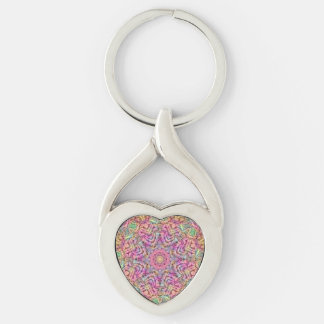 Techno Colors Pattern  Metal Keychains, 4 shapes Silver-Colored Twisted Heart Key Ring