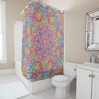 Techno Colors Pattern Vintage  Shower Curtain